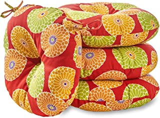South Pine Porch AM6817S4-FLOWERRED Flowers on Red 18-inch Round Outdoor Bistro Chair Cushion, Set of 4, Multi-Color