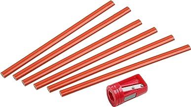 Werkzeyt Timmermannspotloodset 7-delig-6 potloden & 1 puntenslijper 175 mm lengte ovaal vorm gemiddelde hardheid, ideaal v...