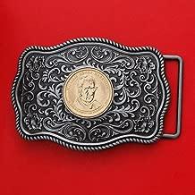 US 2009 Presidential Dollar BU Unc Coin Silver Tone Belt Buckle NEW - Beautiful Western Scroll Design - William Henry Harrison (1841 Year Served)