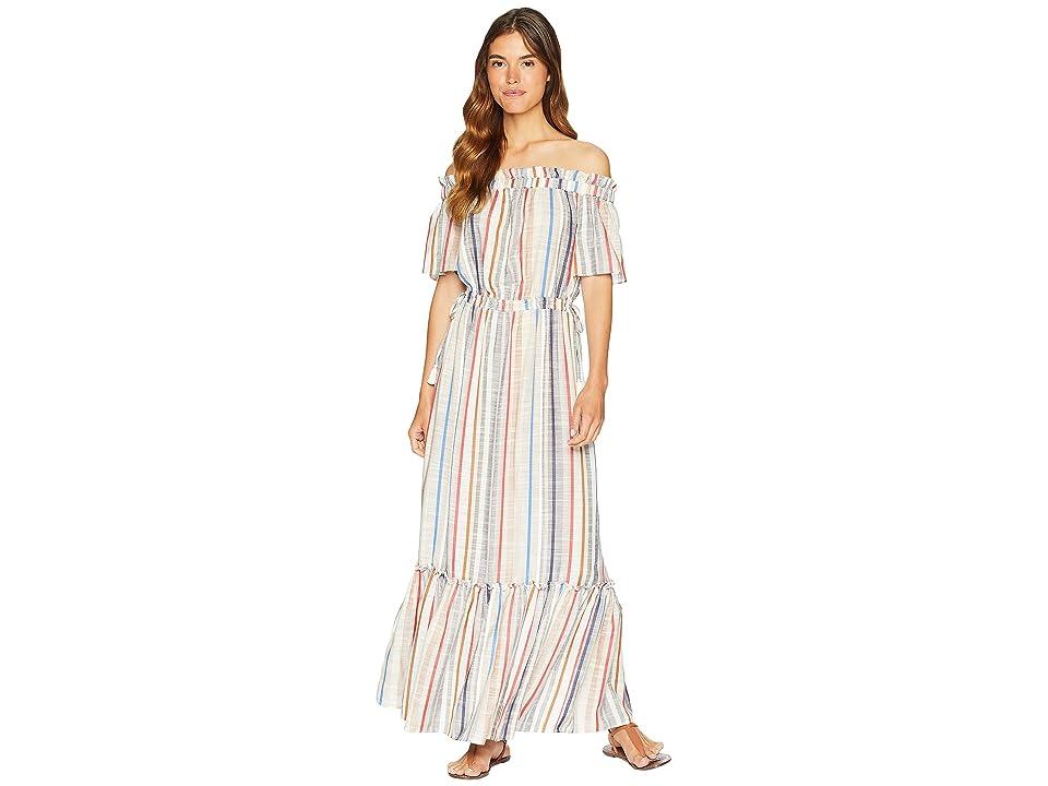 1.STATE Off Shoulder Cinched Waist Maxi Dress (Antique White) Women