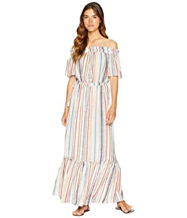 Off Shoulder Cinched Waist Maxi Dress