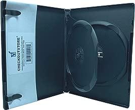 CheckOutStore (10) Premium Standard Double 2-Disc DVD Cases 14mm (Black (Inner Flap))