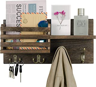 Wall Mounted Key Holder Hooks Mail Sorter Organizer Wooden Mail Holder with Coat Hooks Rack and A Floating Shelf Rustic Home Decor for Entryway, Mudroom, Hallway