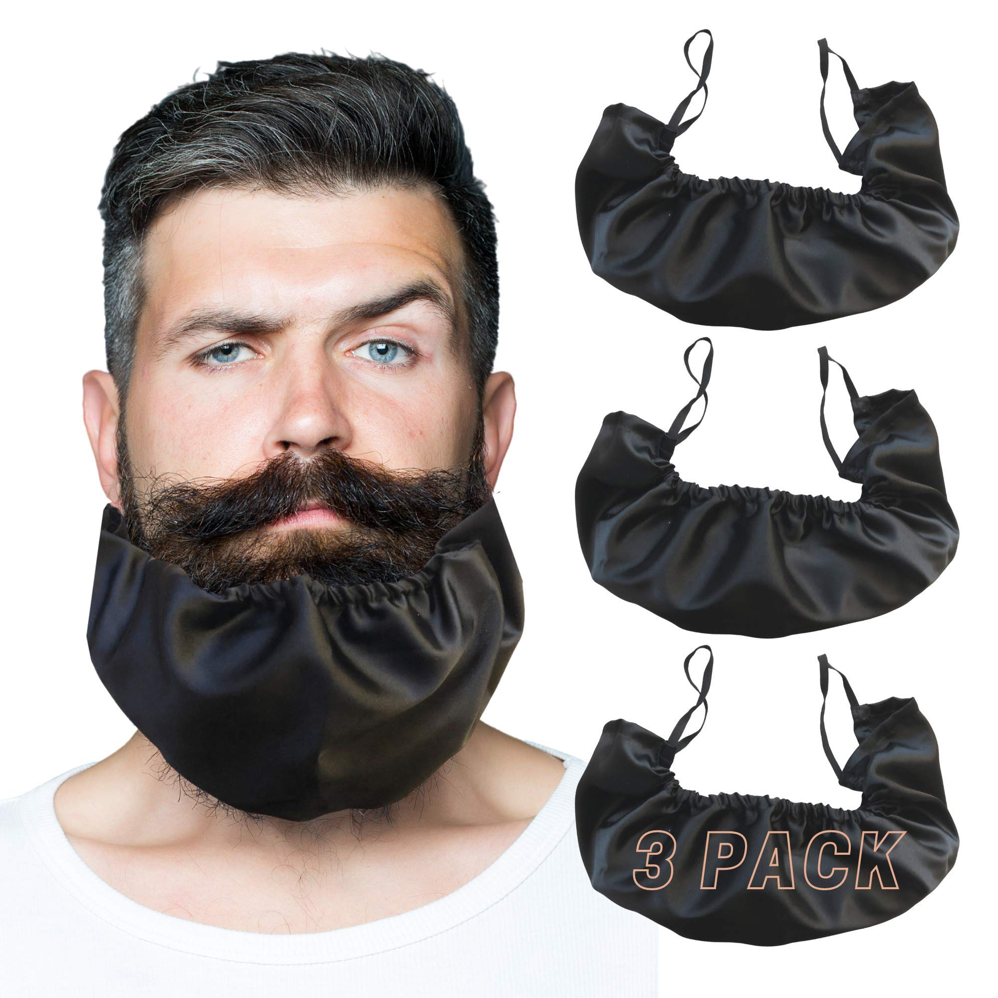 Beard Bandana Black 3 Pack XL Size, Beard Bib Bonnet Facial Apron Caps Beard Guard