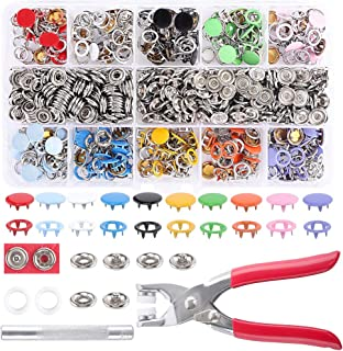 PARAWEYSE 10 Colors 200 Sets Snap Fastener Kit 10MM Metal Snap On Buttons Set Rings with Fastener Pliers Press Tool Kit fo...