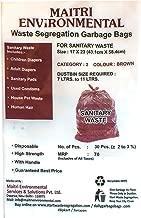 MAITRI Sanitary Waste Garbage Bags, Medium, 17x23 Inches (Brown, SBR 60) - 60 Pieces