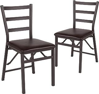 Flash Furniture 2 Pk. HERCULES Series Brown Folding Ladder Back Metal Chair with Brown Vinyl Seat -