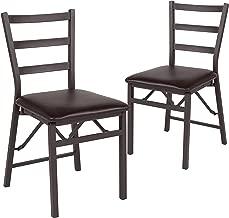 Flash Furniture 2 Pk. HERCULES Series Brown Folding Ladder Back Metal Chair with Brown Vinyl Seat - 2-CY-180841-GG
