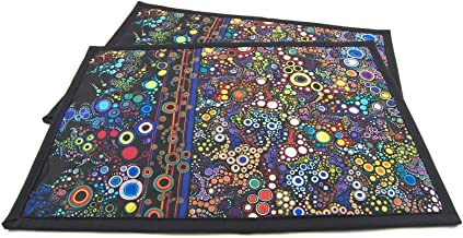 Quilted Placemats - Set of 2 Colorful Brights on Black Cotton - 12 x 18 inches