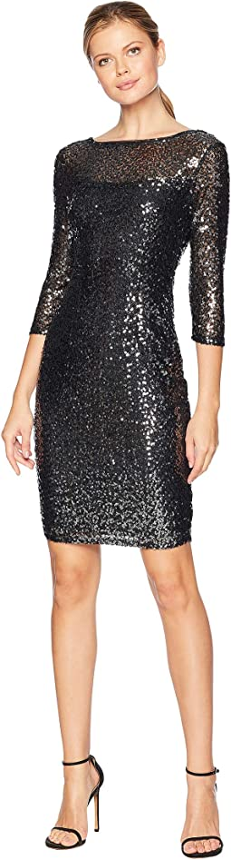 Short Slim Sequin Dress with 3/4 Sleeves and V-Back