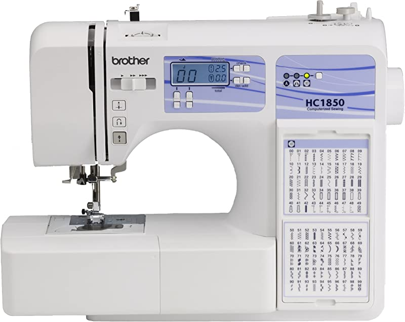 Brother Computerized Sewing And Quilting Machine HC1850 130 Built In Stitches 8 Presser Feet Sewing Font Wide Table 850 Stitches Per Minute Instructional DVD 25 Year Limited Warranty