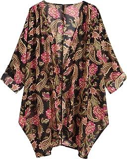 OLRAIN Women s Floral Print Sheer Loose Kimono Cardigan Capes ae18b64db