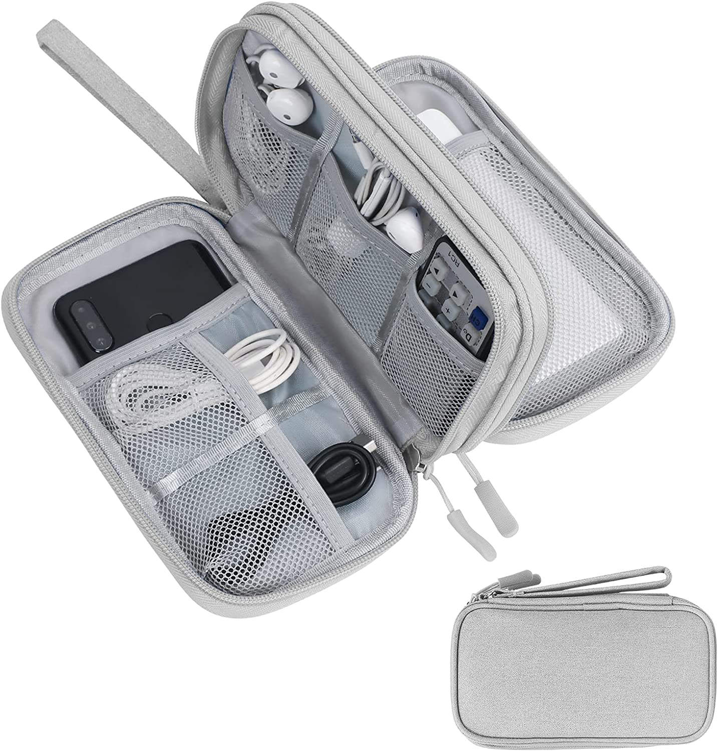 Skycase Travel Cable Organizer,Electronics Accessories Cases, All-in-One Storage Bag, Accessories Carry Bag for USB Data Cable,Earphone Wire,Power Bank, Phone,Grey