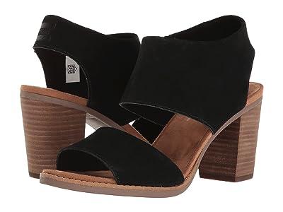 TOMS Majorca Cutout Sandal (Black Suede) Women