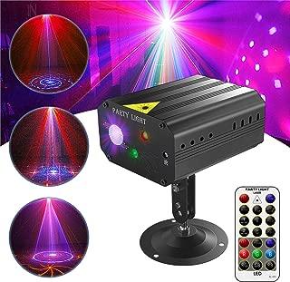 GVOO Discokugel,Gvoo Sound Aktivierte Party Light LED Bühnenprojektor 6 Farben 24 Muster mit Fernbedienung für Urlaub Party Kinder Geburtstag Karaoke Club Lichteffekte Weihnach