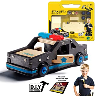 Stanley Jr. DIY Wooden Police Car Kit for Kids - Easy to Assemble Police Car Building Set - Craft Toys for Kids - Wood Cop Car Toy for Boys and Girls - Parts and Paint Included