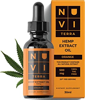 Hemp Oil 500 mg | Premium Herbal Drops for Pain-Stress Relief, Inflammation, Relaxation & Sleep Support, Natural & Organic, Rich in Fatty Acids, Made in USA - Orange Flavored