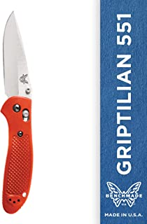 Benchmade - Griptilian 551 Knife with CPM-S30V Steel, Drop-Point Blade, Plain Edge, Satin Finish, Orange Handle