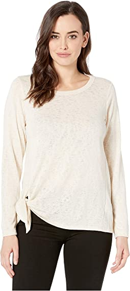 Long Sleeve Side Tie Slub Top