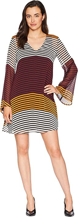 Striped V-Neck Chiffon Tunic Dress
