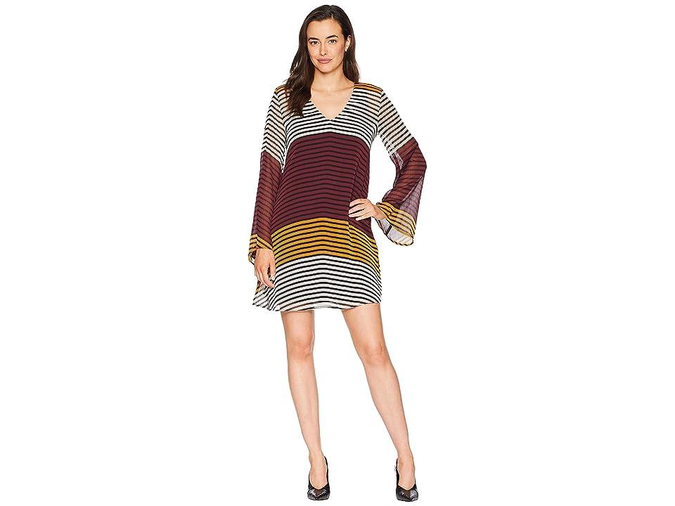 eci Striped V-Neck Chiffon Tunic Dress (Brown/Gold) Women