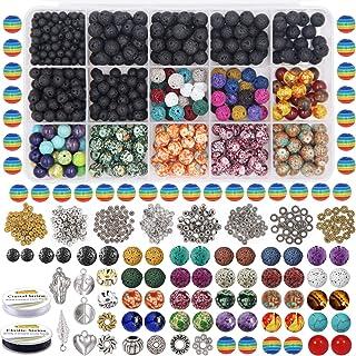 EuTengHao 702Pcs Lava Beads Stone Rock Beads Rainbow Striped Beads Kit with Chakra Beads Cloisonne Beads Spacer Beads Brac...