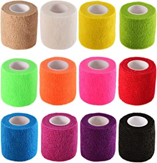 Pangda 12 Pieces Adhesive Bandage Wrap Stretch Self-Adherent Tape for Sports Wrist Ankle 5 Yards Each (12 Colors 2 Inches)