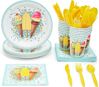 Juvale Disposable Dinnerware Set - Serves 24 - Ice Cream Party Supplies, Includes Plastic Knives, Spoons, Forks, Paper Plates, Napkins, Cups