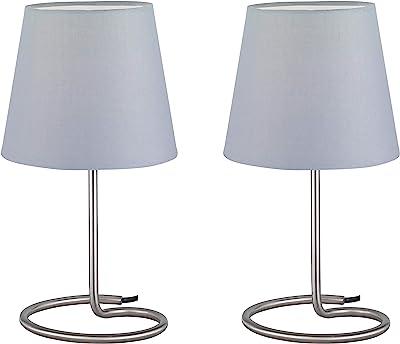 Reality, Lampe de table, Twin 2xE14, max.40,0 W Tissu, Gris, Corps: metal, Nickel mat Ø:18,0cm, H:33,0cm IP20,Interrupteur de cordon
