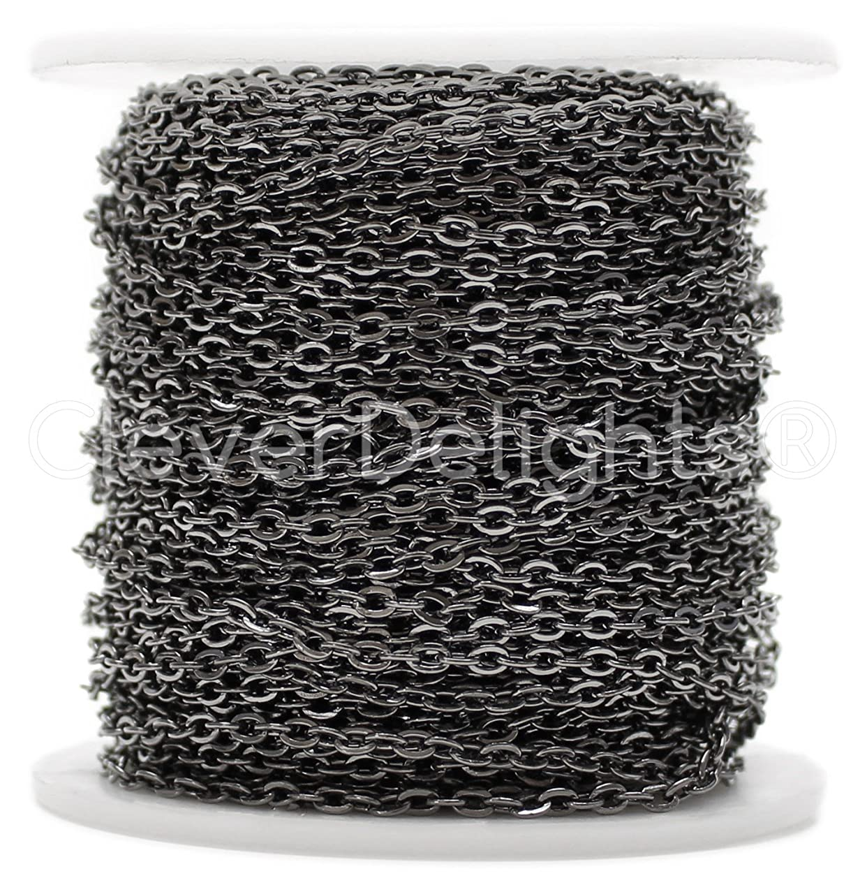 CleverDelights Cable Chain Spool - 100 Feet - Gunmetal (Dark Silver) Color - 2x3mm Link