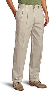 IZOD Men's American Chino Pleated Pant, Khaki, 34W x 29L