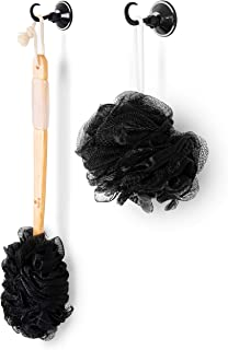 Charcoal Bamboo Loofah Set: 1 Bath and Shower Brush Back Scrub Loofah with Long Handle, 1 Handheld Loofah Sponge and 2 Self Adhesive Hooks - Body Brush Exfoliator and Bath Pouf for Men and Women