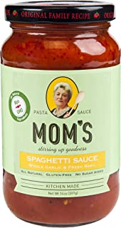 Moms Pasta Sauce, Garlic & Basil, 14 Ounce (Pack of 6)