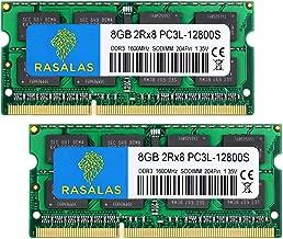 DDR3 Ram 16GB, Rasalas 16GB DDR3 Kit (2x8GB) PC3-12800 DDR3 1600 2Rx8 PC3 12800S DDR3 16GB 1.35V 204-Pin CL11 Dual Rank Ram Memory for Laptop