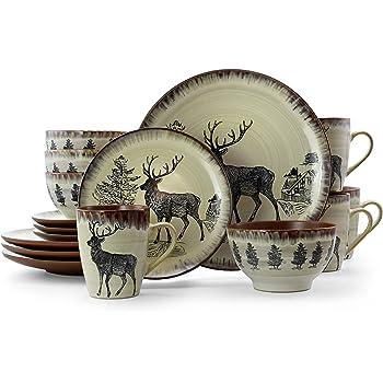 Elama Round Stoneware Cabin Dinnerware Dish Set, 16 Piece, Elk Design with Warm Taupe and Brown Accents