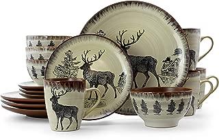 Elama 930112047M EL-MAJESTICELK16 Majestic 16 Piece Round Stoneware Dinnerware Set pc, Taupe with Elk Decal