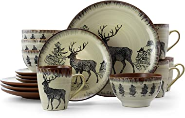 Elama Round Stoneware Cabin Dinnerware Dish Set, 16 Piece, Elk Design with Warm Taupe and Brown Accents