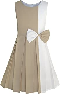 5c7220c1 Sunny Fashion Girls Dress Color Block Contrast Bow Tie Everyday Party Size  4-14