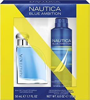 Nautica Blue Ambition 2-Piece Gift Set with 1.7-Ounce Eau de Toilette and 6-Ounce Deodorant Body Spray, Total Retail Value $40.00