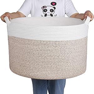 Zilink Extra Large Blanket Basket for Living Room 21.7