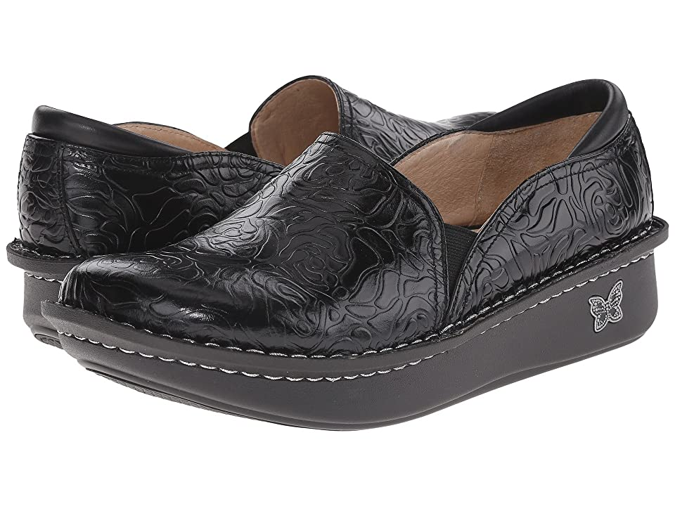 ef78edaefbab Alegria Debra Professional (Black Emboss Rose Leather) Women s Slip on Shoes  Alegria