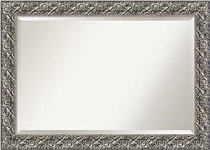 Amanti Art Espelho de parede de madeira (75,2 x 105,7 cm), moldura prata Luxor - espelho de banheiro, espelho de espelho -...