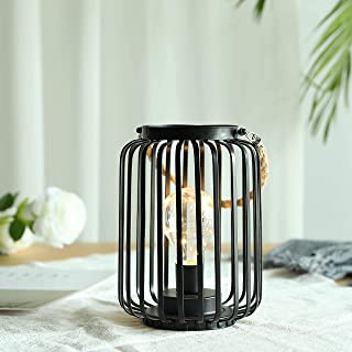"""JHY DESIGN 7.5"""" High Metal Cage Decorative Lamp Battery Powered Cordless Warm White Light with LED Edison Style Bulb Great..."""