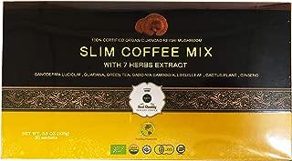Juncao Reishi Slim Coffee Mix 30 Sachets with Certified Organic Ganoderma, Guarana, Green Tea, Garcinia cambogia, Lotus Leaf , Cactus Plant , Ginseng