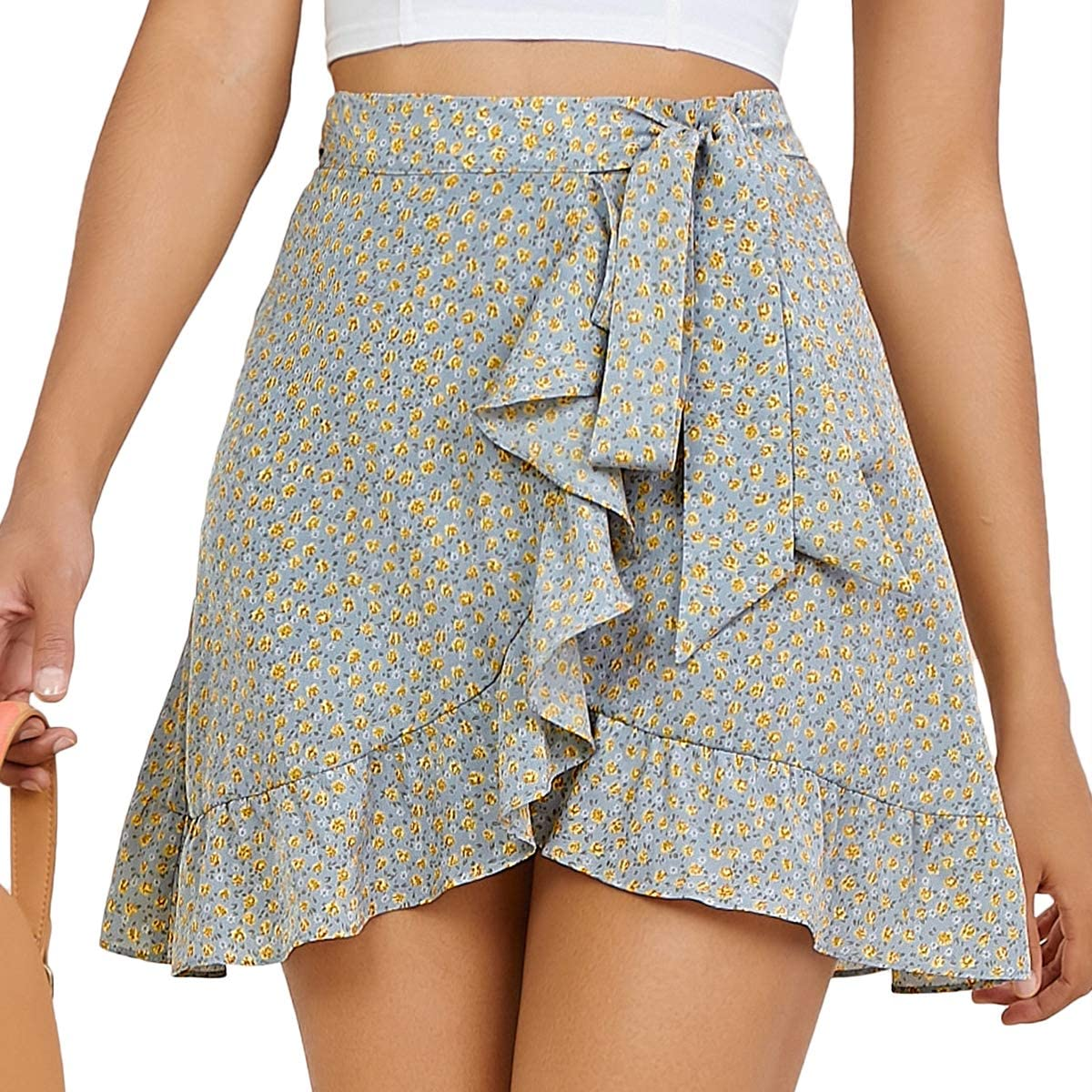 SheIn Women's Floral High Waist Ruffle Trim Wrap Tie Side A Line Short Mini Skirt