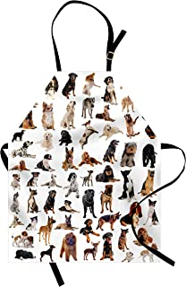 Lunarable Dog Lover Apron, Composite Picture with Dogs Australian Sheepdog Belgian Boxer Italian Mastiff, Unisex Kitchen Bib with Adjustable Neck for Cooking Gardening, Adult Size, Brown Black