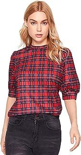 SheIn Women's Grid Office Blouse Work Top Puff Sleeve Shirt