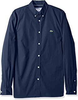 Lacoste Men's Long Sleeve Solid Poplin Stretch Collar Slim Woven Shirt, CH5816
