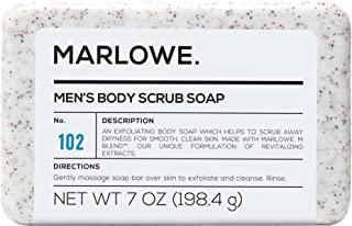 MARLOWE. No. 102 Men's Body Scrub Soap 7 oz | Best Exfoliating Bar for Men | Made with Natural Ingredients | Amazing Sandalwood and Agarwood Scent