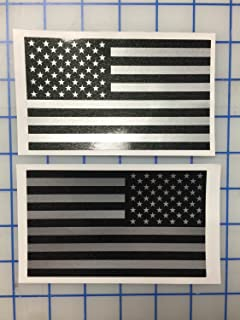 I Make Decals™ - Larger Ghosted US American subdued flag, FBA, Prime, silver with ghosted black print, 3 inch X 5inch, pair, Hard Hat, lunch box, vinyl decal car sticker